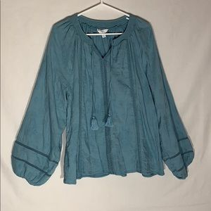 Time and True Boho Turquoise Shirt Size XL